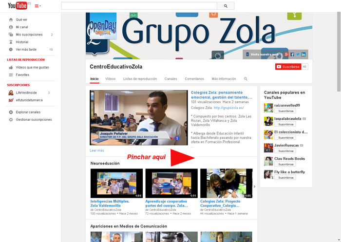 web YouTube Grupo Zola