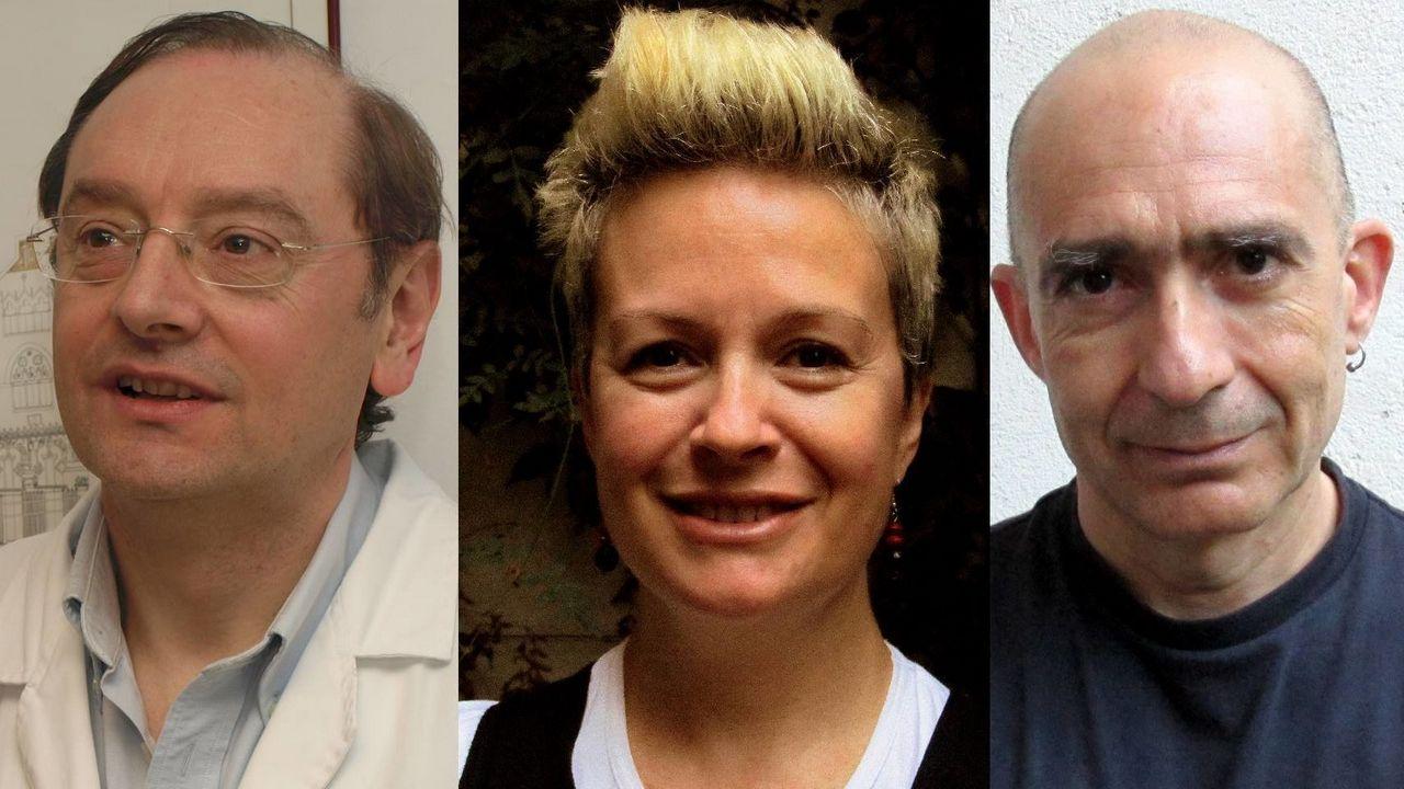 Los investigadores Ramón Mangues, Esther Vázquez y Antonio Villaverde. CIBER-BBN