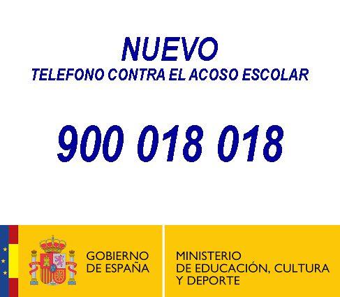 teléfono contra el acoso escolar: 900 018 018