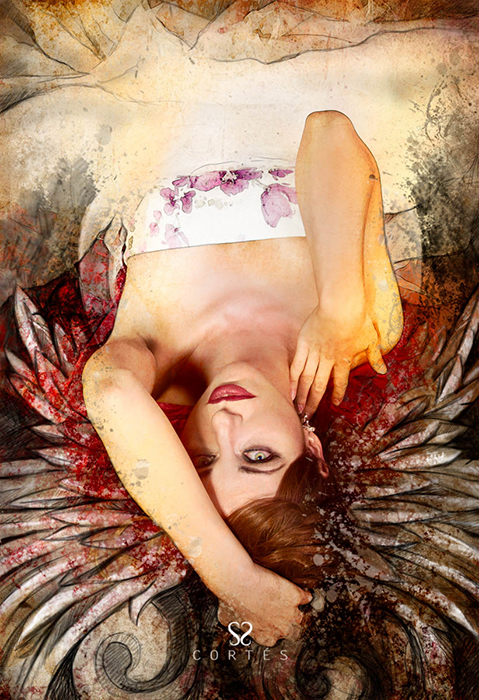 Mixed media, beautiful woman with red hair with wings, art illustration